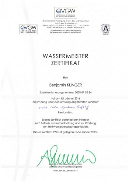 Alpecon TB Klinger Imst, Wassermeisterzertifikat Benjamin Klinger